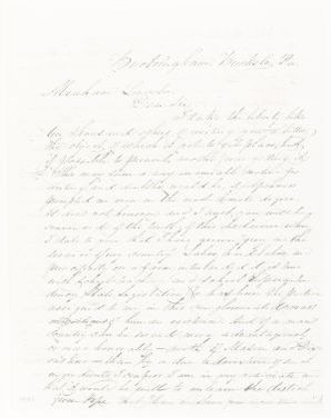 Abraham Lincoln papers: Series 1. General Correspondence. 1833-1916: Joseph Fell to Abraham Lincoln, Tuesday, January 01, 1861 (Cameron)