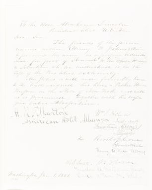 Abraham Lincoln papers: Series 1. General Correspondence. 1833-1916: Henry F. Johns to Abraham Lincoln, Tuesday, January 01, 1861 (Petition for employment as White House steward)