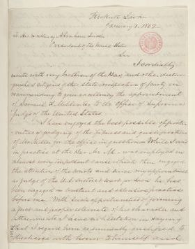 Abraham Lincoln papers: Series 1. General Correspondence. 1833-1916: J. M. Love to Abraham Lincoln, Wednesday, January 01, 1862 (Recommendation)