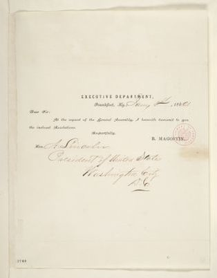 Abraham Lincoln papers: Series 1. General Correspondence. 1833-1916: Beriah Magoffin to Abraham Lincoln, Wednesday, January 01, 1862 (Cover letter)