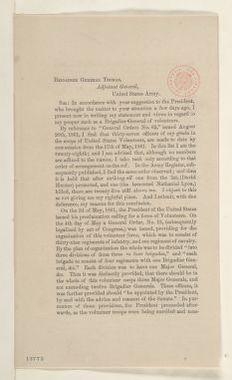 Abraham Lincoln papers: Series 1. General Correspondence. 1833-1916: Robert C. Schenck to Lorenzo Thomas, Wednesday, January 01, 1862 (Pamphlet)