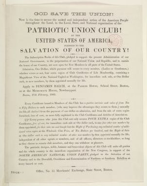 Abraham Lincoln papers: Series 1. General Correspondence. 1833-1916: Boston Patriotic Union Club, Friday, February 27, 1863 (Printed Circular; with endorsements by Benjamin Balch)