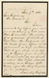 Abraham Lincoln papers: Series 1. General Correspondence. 1833-1916: Charles C. Callan to Abraham Lincoln, Thursday, January 07, 1864 (Requests interview)