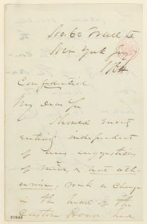 Abraham Lincoln papers: Series 1. General Correspondence. 1833-1916: Daniel S. Dickinson to Abraham Lincoln, Thursday, January 07, 1864 (Would accept position as collector of customs)