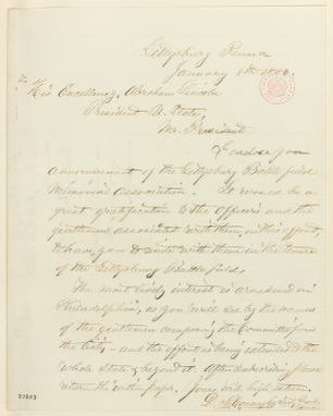 Abraham Lincoln papers: Series 1. General Correspondence. 1833-1916: D. McConaughy to Abraham Lincoln, Friday, January 08, 1864 (Gettysburg Battlefield Memorial Association)