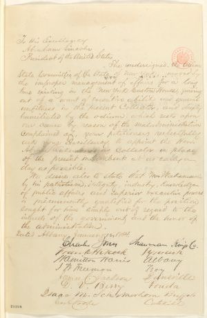 Abraham Lincoln papers: Series 1. General Correspondence. 1833-1916: New York Union Committee to Abraham Lincoln, Tuesday, January 12, 1864 (Petition recommending appointment of Abram Wakeman to replace Hiram Barney)