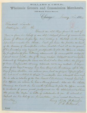 Abraham Lincoln papers: Series 1. General Correspondence. 1833-1916: Peter H. Willard to Abraham Lincoln, Thursday, January 14, 1864 (Recommendation)