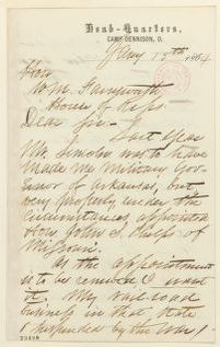 Abraham Lincoln papers: Series 1. General Correspondence. 1833-1916: Mason Brayman to John F. Farnsworth, Friday, January 15, 1864 (Seeks appointment as military governor of Arkansas; endorsed by Farnsworth)