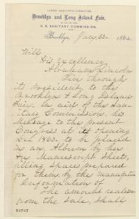 Abraham Lincoln papers: Series 1. General Correspondence. 1833-1916: Mrs. J. S. T. Stranahan to Abraham Lincoln, Saturday, January 23, 1864 (Requests donation to Brooklyn Sanitary Fair)
