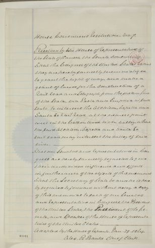 Abraham Lincoln papers: Series 1. General Correspondence. 1833-1916: Kansas Legislature to Congress, January-February 1864 (Petition for Land Grant and Railroad Right of Way)