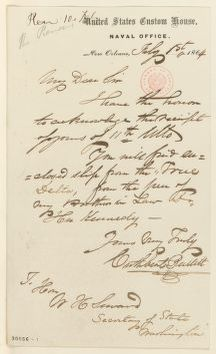 Abraham Lincoln papers: Series 1. General Correspondence. 1833-1916: Cuthbert Bullitt to William H. Seward, Monday, February 01, 1864 (Sends clipping)
