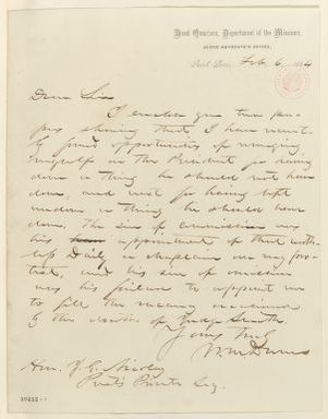 Abraham Lincoln papers: Series 1. General Correspondence. 1833-1916: William M. Dunn to John G. Nicolay, Saturday, February 06, 1864 (Sends clippings)