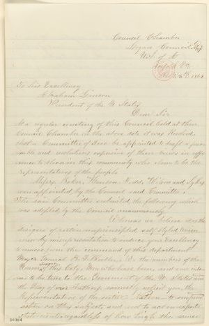 Abraham Lincoln papers: Series 1. General Correspondence. 1833-1916: Norfolk Virginia Logan Council to Abraham Lincoln, Monday, February 08, 1864 (Resolutions concerning General Butler and Governor Peirpoint)