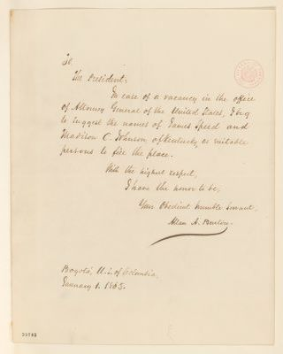 Abraham Lincoln papers: Series 1. General Correspondence. 1833-1916: Allan A. Burton to Abraham Lincoln, Sunday, January 01, 1865 (Recommendation)