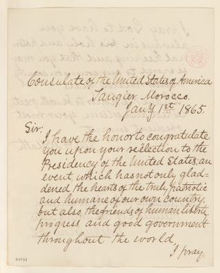 Abraham Lincoln papers: Series 1. General Correspondence. 1833-1916: Jesse H. McMath to Abraham Lincoln, Sunday, January 01, 1865 (Congratulations)