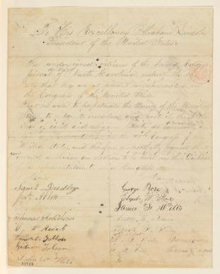 Abraham Lincoln papers: Series 1. General Correspondence. 1833-1916: North Carolina Citizens to Abraham Lincoln, [January 1, 1865] (Petition requesting congressional election)