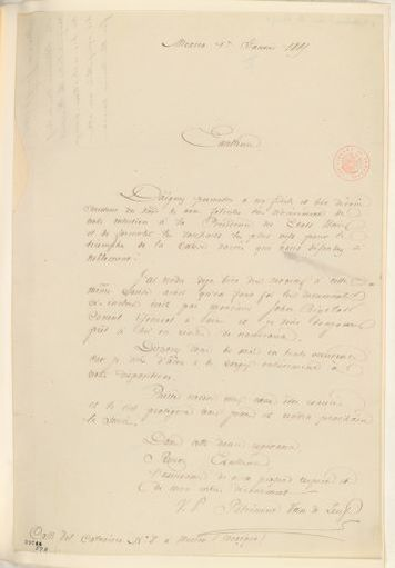 Abraham Lincoln papers: Series 1. General Correspondence. 1833-1916: Petrement Van De Leuf to Abraham Lincoln, Sunday, January 01, 1865 (In French)