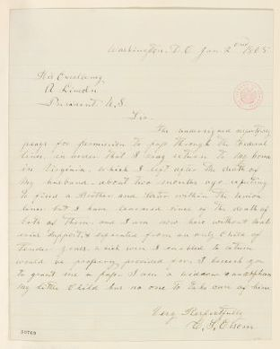 Abraham Lincoln papers: Series 1. General Correspondence. 1833-1916: C. S. Elsom to Abraham Lincoln, Monday, January 02, 1865 (Requests pass)