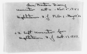 Clara Barton Papers: Diaries and Journals: 1851, Oct. 11-Nov. 5;1852, Feb. 1-May 27; 1853-1857