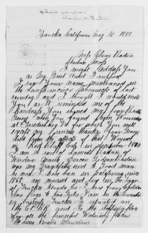 Clara Barton Papers: Family Papers: Barton, Charles H. (cousin), 1883-1901