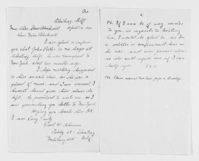 """Blackwell Family Papers: Alice Stone Blackwell Papers, 1848-1957; General Correspondence, 1871-1950; """"Ah"""" miscellaneous"""