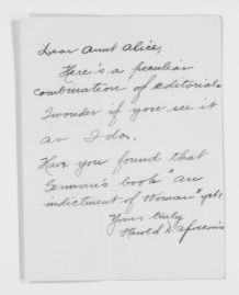 """Blackwell Family Papers: Alice Stone Blackwell Papers, 1848-1957; General Correspondence, 1871-1950; """"Ap"""" miscellaneous"""