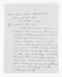 """Blackwell Family Papers: Alice Stone Blackwell Papers, 1848-1957; General Correspondence, 1871-1950; """"As"""" miscellaneous"""