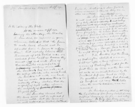 Blackwell Family Papers: Alice Stone Blackwell Papers, 1848-1957; General Correspondence, 1871-1950; Letters to the editor; 4 of 12