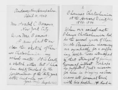 Blackwell Family Papers: Alice Stone Blackwell Papers, 1848-1957; Subject File, 1870-1957; Armenia; Chatschumian, Ohannes