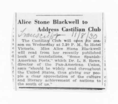 Blackwell Family Papers: Alice Stone Blackwell Papers, 1848-1957; Subject File, 1870-1957; Spanish-American poetry; Miscellany; 2 of 2