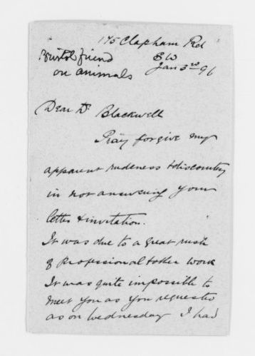 Blackwell Family Papers: Elizabeth Blackwell Papers, 1836-1946; General Correspondence, 1850-1910; Beale, Arthur A.