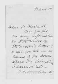 Blackwell Family Papers: Elizabeth Blackwell Papers, 1836-1946; General Correspondence, 1850-1910; Blake, Sophia