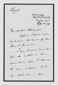 Blackwell Family Papers: Elizabeth Blackwell Papers, 1836-1946; General Correspondence, 1850-1910; Stamfeld, J.