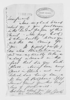 Blackwell Family Papers: Elizabeth Blackwell Papers, 1836-1946; General Correspondence, 1850-1910; Stooke, J.