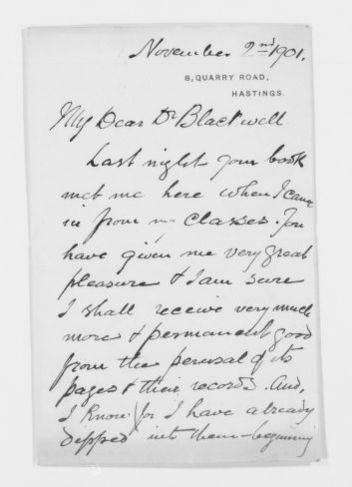 Blackwell Family Papers: Elizabeth Blackwell Papers, 1836-1946; General Correspondence, 1850-1910; Sullivan, M.