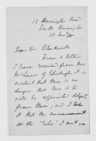 "Blackwell Family Papers: Elizabeth Blackwell Papers, 1836-1946; General Correspondence, 1850-1910; ""T"" miscellaneous"