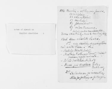 Blackwell Family Papers: Elizabeth Blackwell Papers, 1836-1946; Speech, Article, and Book File, 1857-1916; Notes for speech on English charities
