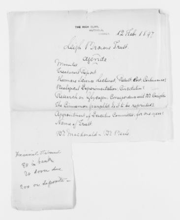 Blackwell Family Papers: Elizabeth Blackwell Papers, 1836-1946; Subject File, 1847-1910; Leigh Browne Trust, notes and articles concerning; 2 of 2