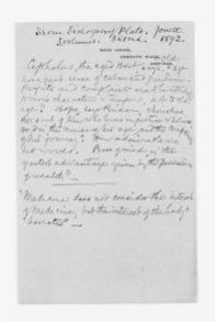 Blackwell Family Papers: Elizabeth Blackwell Papers, 1836-1946; Subject File, 1847-1910; Medical papers; 2 of 3