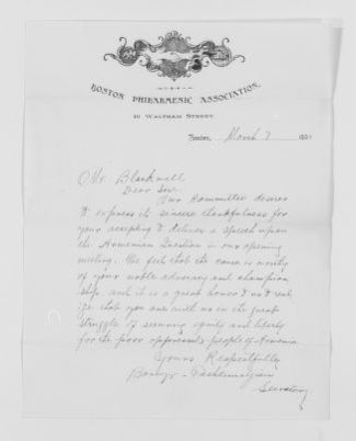Blackwell Family Papers: Henry Browne Blackwell Papers, 1834-1909; General Correspondence, 1842-1908; Boston Philarmenic Association