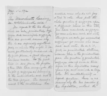 Blackwell Family Papers: Henry Browne Blackwell Papers, 1834-1909; Speech, Article, and Writings File.; Speeches; 1 of 2