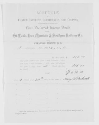 Blackwell Family Papers: Henry Browne Blackwell Papers, 1834-1909; Subject File, 1834-1909; Financial papers; Miscellaneous financial papers; 3 of 27