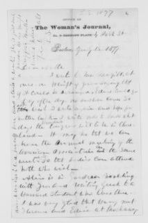 Blackwell Family Papers: Lucy Stone Papers, 1759-1960; Family Correspondence, 1759-1894; Blackwell, Antoinette Louisa Brown; 1877