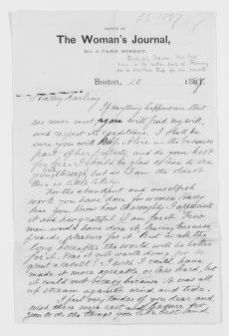 Blackwell Family Papers: Lucy Stone Papers, 1759-1960; Family Correspondence, 1759-1894; Blackwell, Henry Browne; 1887, Feb.-Mar.
