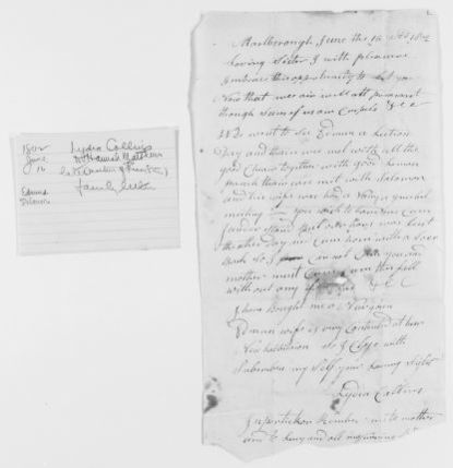 Blackwell Family Papers: Lucy Stone Papers, 1759-1960; Family Correspondence, 1759-1894; Stone family correspondence, 1754-1863; 1 of 2