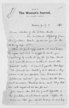 Blackwell Family Papers: Lucy Stone Papers, 1759-1960; General Correspondence, 1845-1893; Golden Rule, letter to the editor