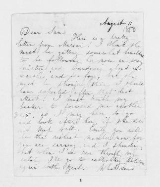 Blackwell Family Papers: Other Blackwell Family Papers, 1834-1945; Sarah Ellen Blackwell Papers, 1840-1901; Correspondence; Blackwell, Samuel C.