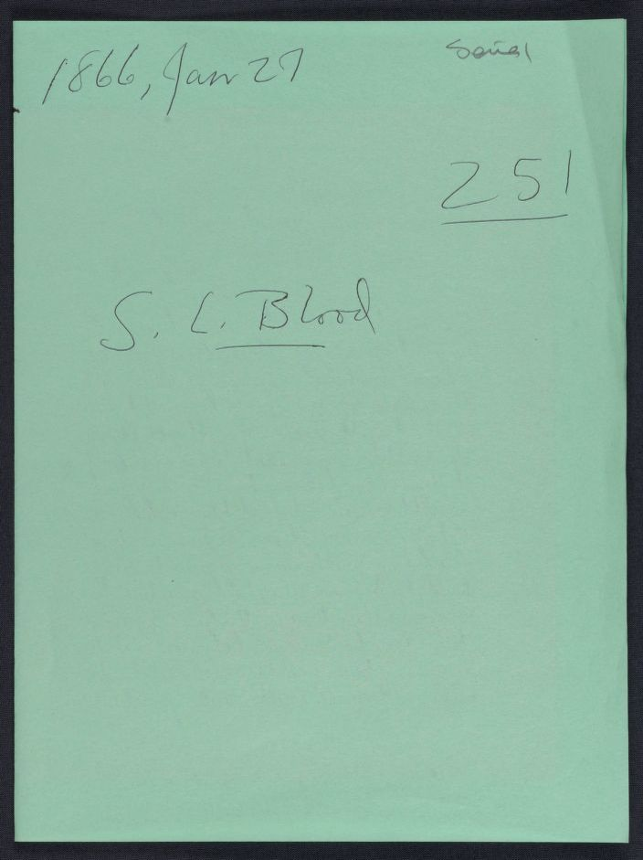 Wm. Oland Bourne Papers: Left-hand Penmanship contest; Soldier and sailor contributions; Series I ($1,000 in prizes, awarded in 1866 ); Entries 251-260