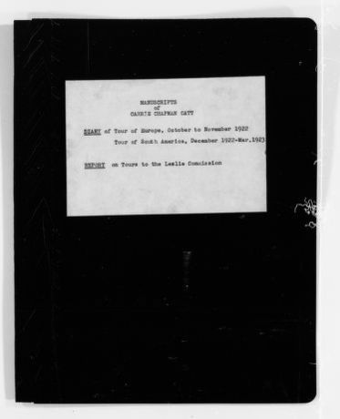 Carrie Chapman Catt Papers: Diaries, 1911-1923; Europe and South America, 1922-1923; 3 of 4