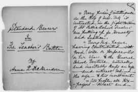 "Anna E. Dickinson Papers: Speeches and Writings File, 1868-1907; Speeches; ""Standard Bearers in the Teacher's Battle,"" undated"